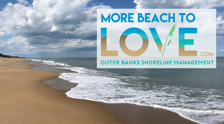 Beautiful beach with More Beach to Love logo on top