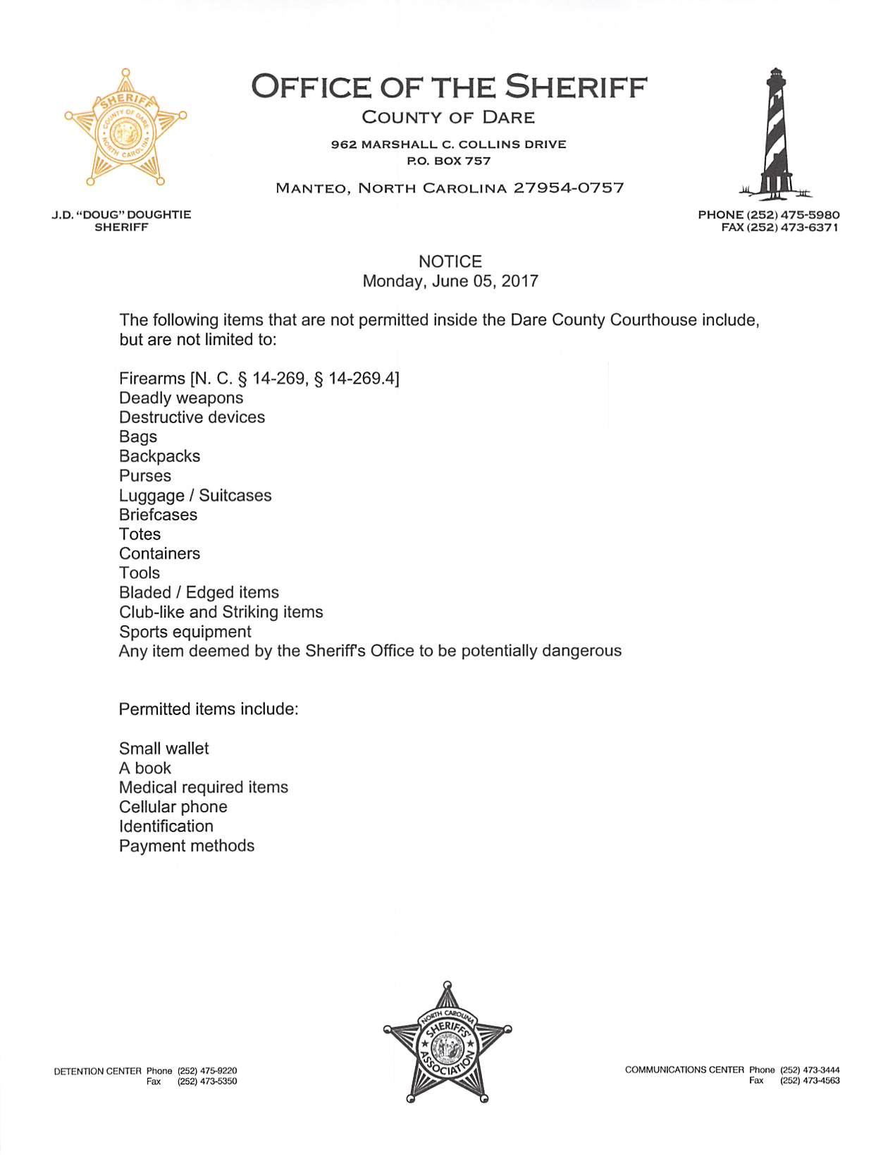 List of Items Not Allowed in Courthouse