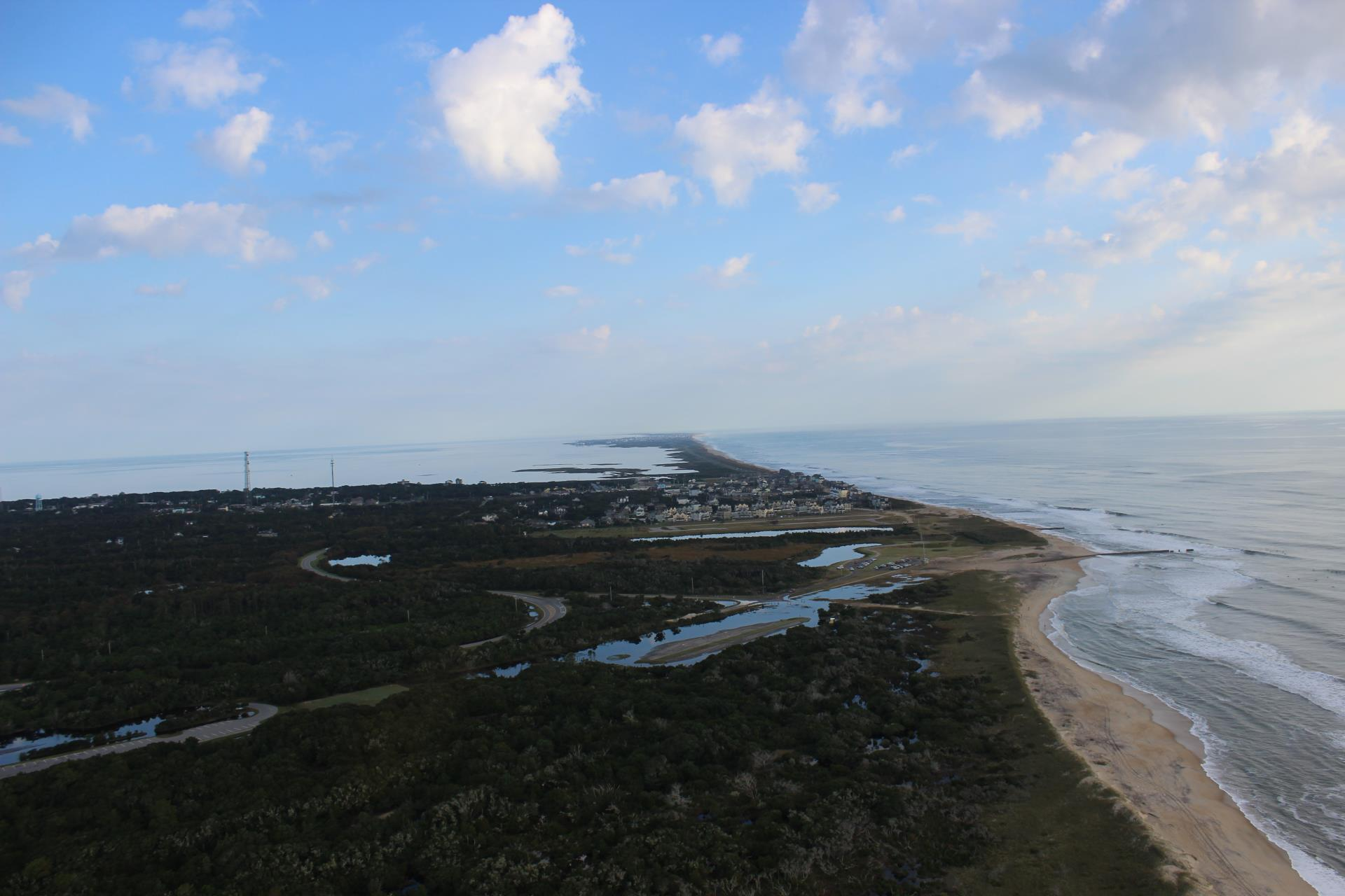 Aerial of NC 12 looking North on Hatteras Island