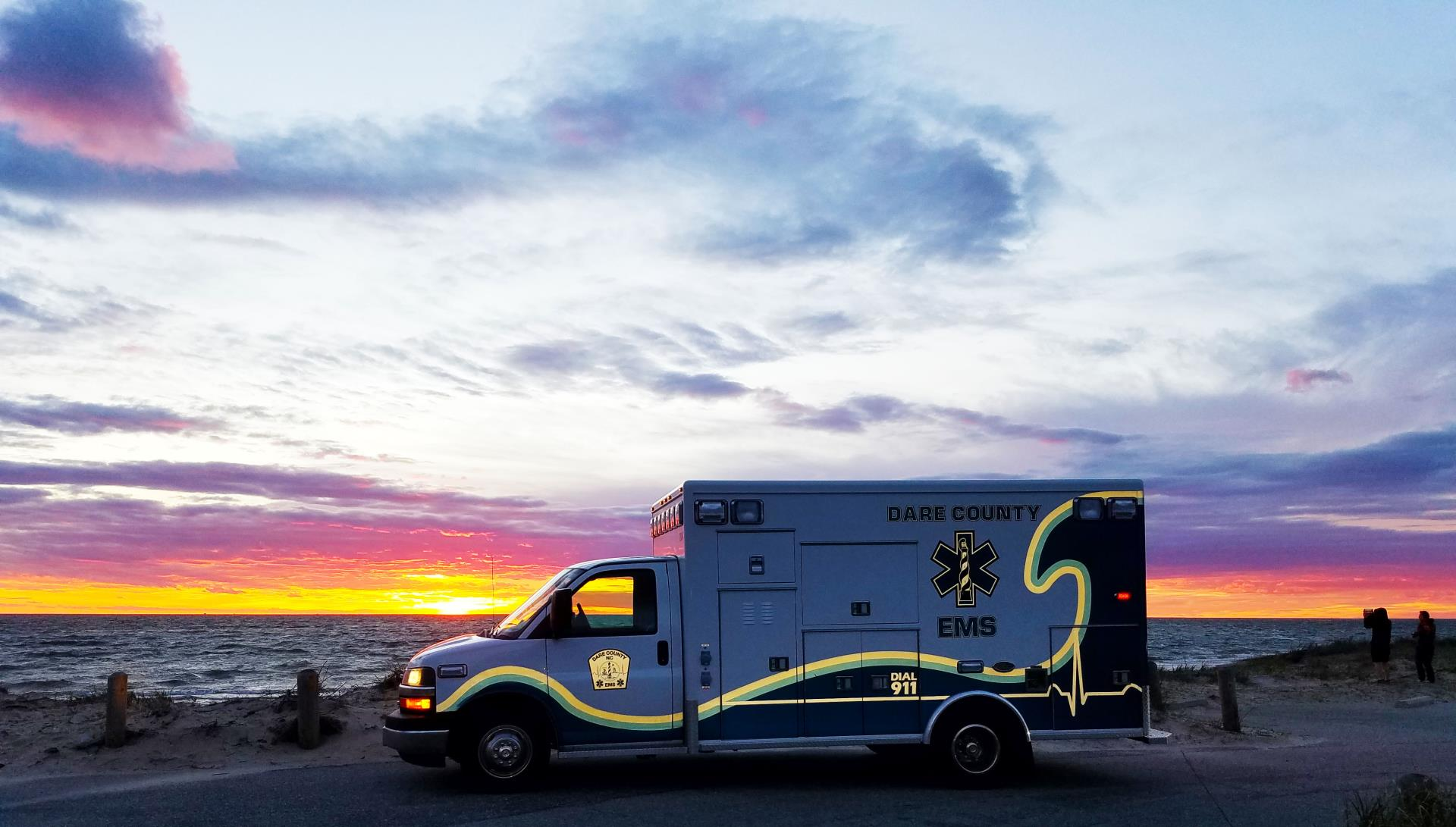 EMS Ambulance at Sunset