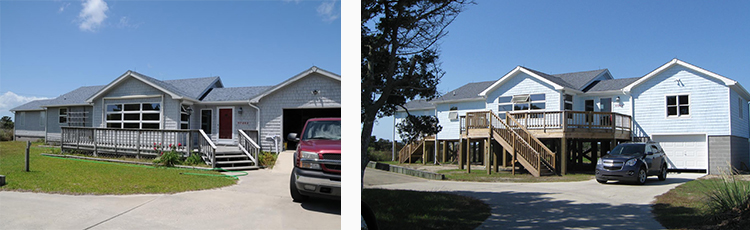 Before and After Photos of an Elevated Home on Hatteras Island