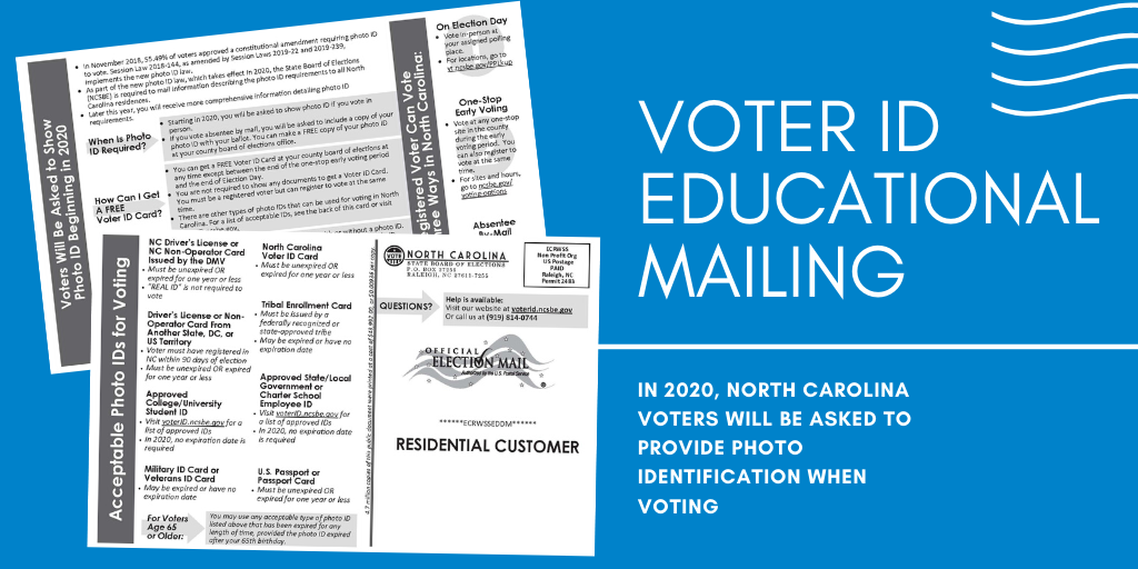 VOTER ID Educational mailing postcard from the NC State Board of Elections.
