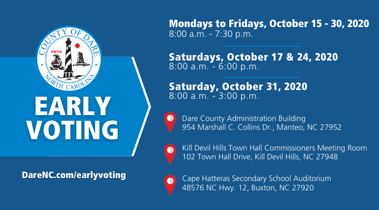 "alt=""Early Voting begins in Dare County on Oct. 15, 2020 for the General Election."""